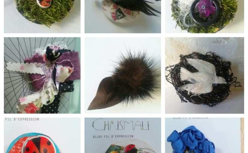 Les petites bêtes timbrées, collection de broches fantaisistes colorées amusantes poétiques