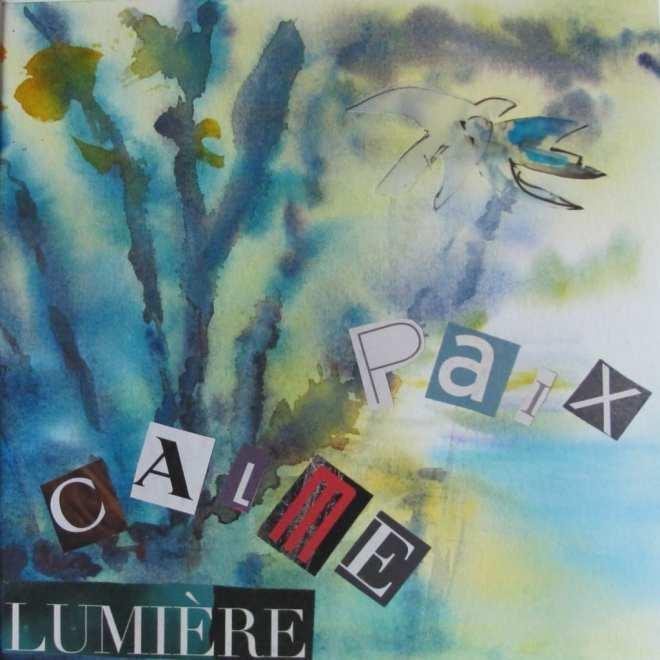 Calme paix lumière aquarelle collage 30 30