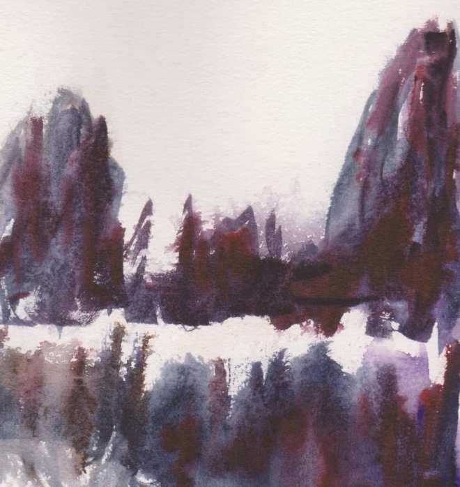 Montagne en hiver - aquarelle - 30 30