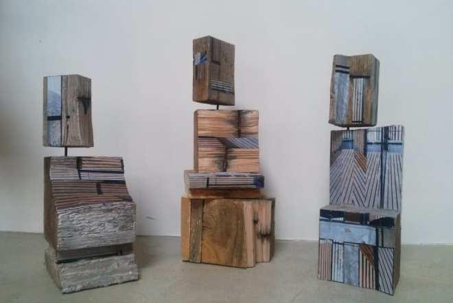 Sculpture Hommes de bois - bois papier peinture