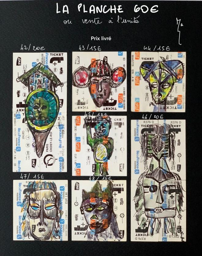 Planche 6 - Miniatures tickets de métro 42 à 48