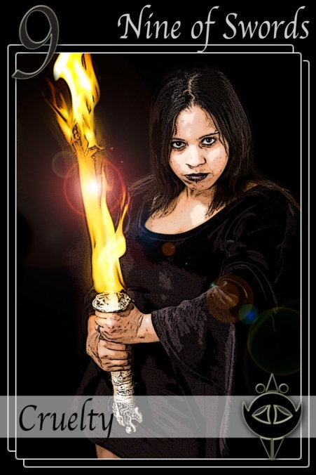 With a name like Morganna, I figured I had to use her for a sword card (my gothic look). I think this turned out fairly well. A lot of my more recent tarot cards have been fairly prop heavy. It's nice to just get one that goes back to basics. I love her stare in this. I thin its absolutely piercing.