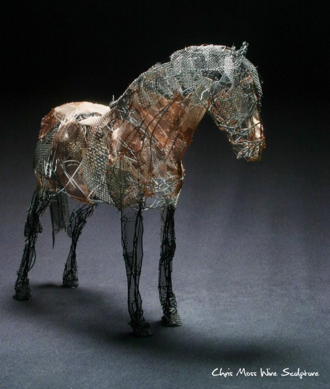 Exmoor Pony by chris moss wire sculptor in yorkshire