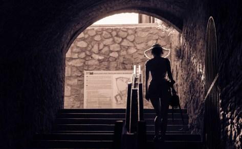 Girl walking stairs