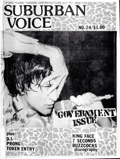 My 1987 photo of John Stabb on the cover of Suburban Voice fanzine.
