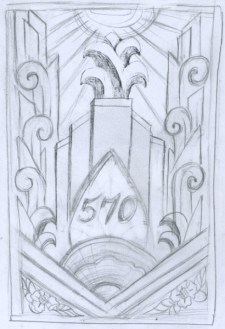 Original Sketch for Art Deco Stone Motif for 1930's residential building in Brooklyn