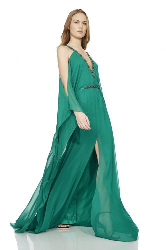 Theia-off-the-shoulder-chiffon-caftan-gown