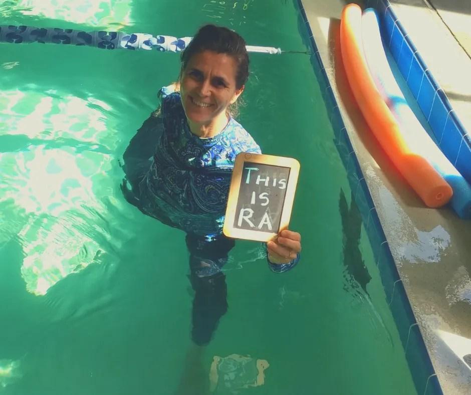 christa fairbrother doing yoga in the pool with rheumatoid arthritis