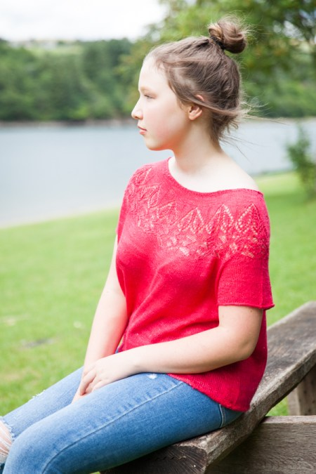 Valentine pure silk red tee with a lace yoke