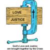God's Love and Justice are brought together by the Cross