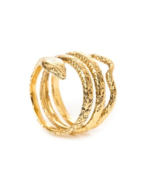 Octave : Snake skin ring gilded with fine gold