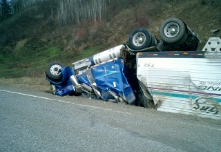 Overturned tractor trailer