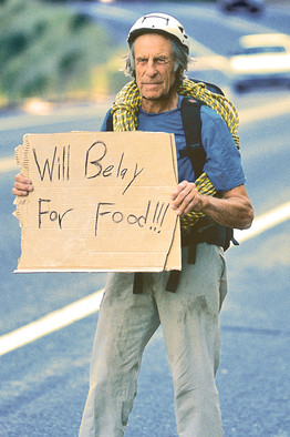 Will belay for food sign_rock climber