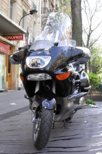 motorcycle on stand_shield
