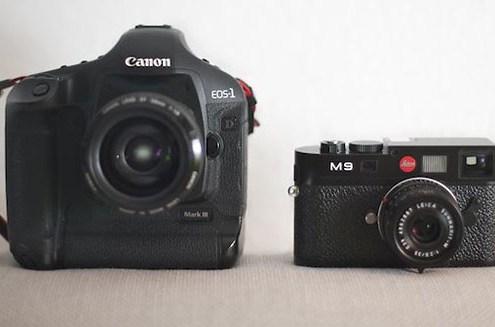 Größenverhältnisse Leica M9 vs. Canon 1D Mk III