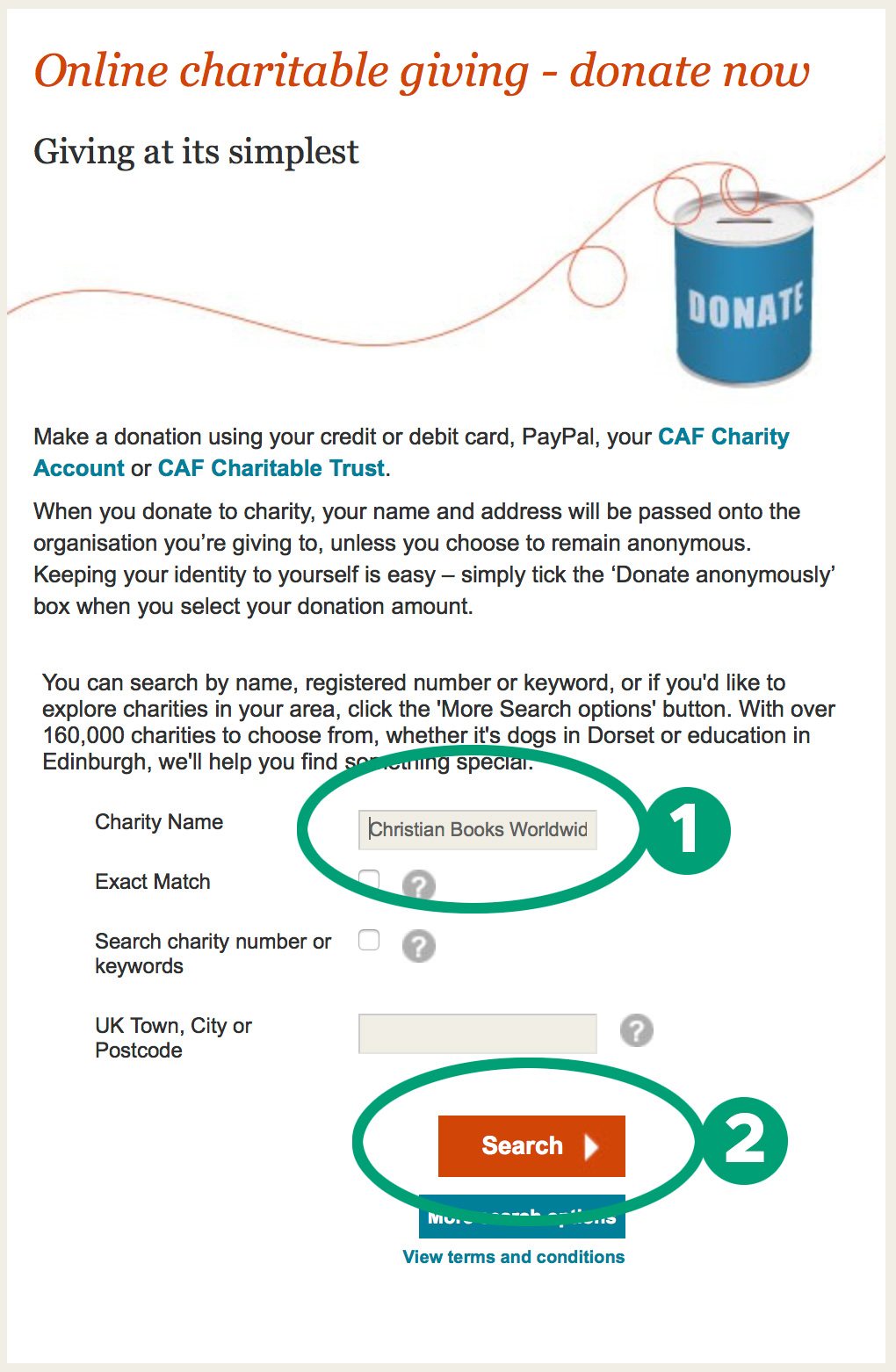 Donation process screen shot