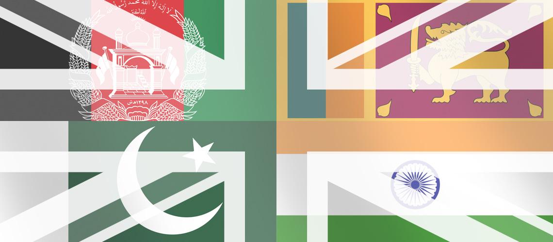 UK flag with flags of India, Pakistan, Sri Lanka and Afghanistan