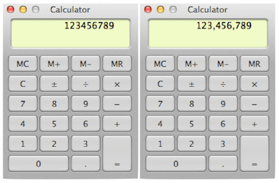 Calculator without, and with, commas for thousand separators