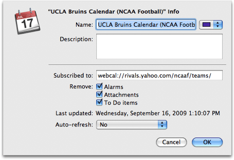 iCal subscribed calendar settings 2