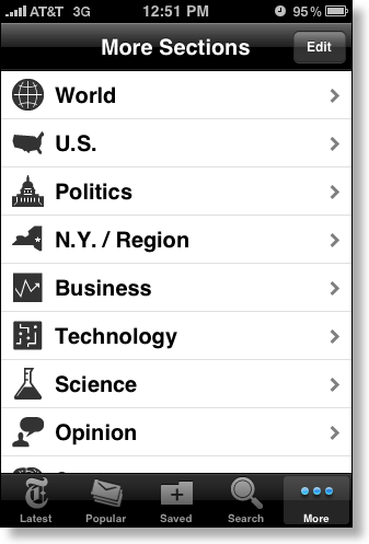 iPhone New York Times category