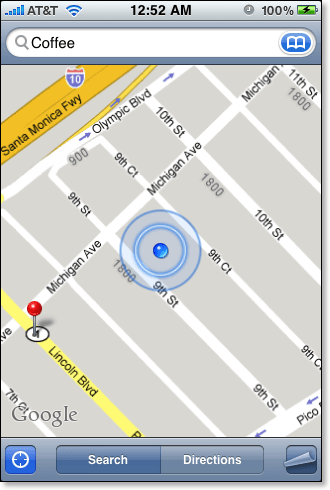 iPhone map double-click zoom in