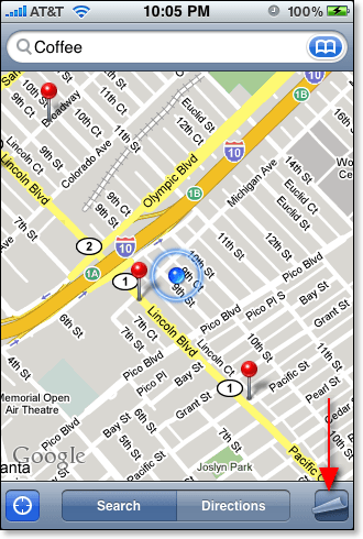 iPhone Map page curl