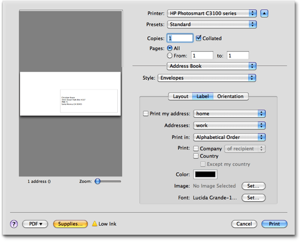 Single click envelope printing mac and iphone answers apples address book can do it but its complicated and you dont have a lot of artistic control heres the print dialog that address book makes you wade solutioingenieria Image collections
