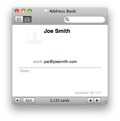 Joe Smith's contact card, with joe@joesmith.com email address
