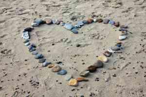 Rock Heart on Beach