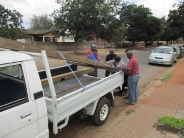 Loading the Cross for delivery