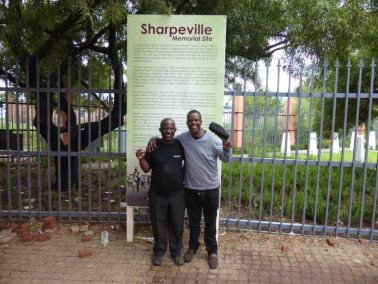 Sechaba Molefe (with hat off) at Sharpeville museum visit