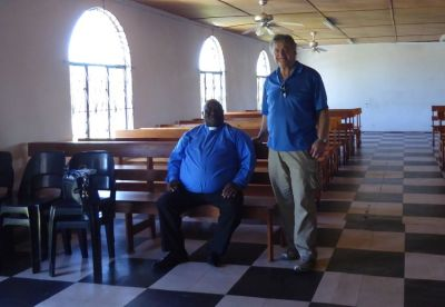 Pastor Malindi with Pastor Bill preparing for Testimony interview