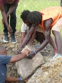 Adding rocks to foundation