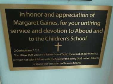 Margaret Gaines appreciation plaque