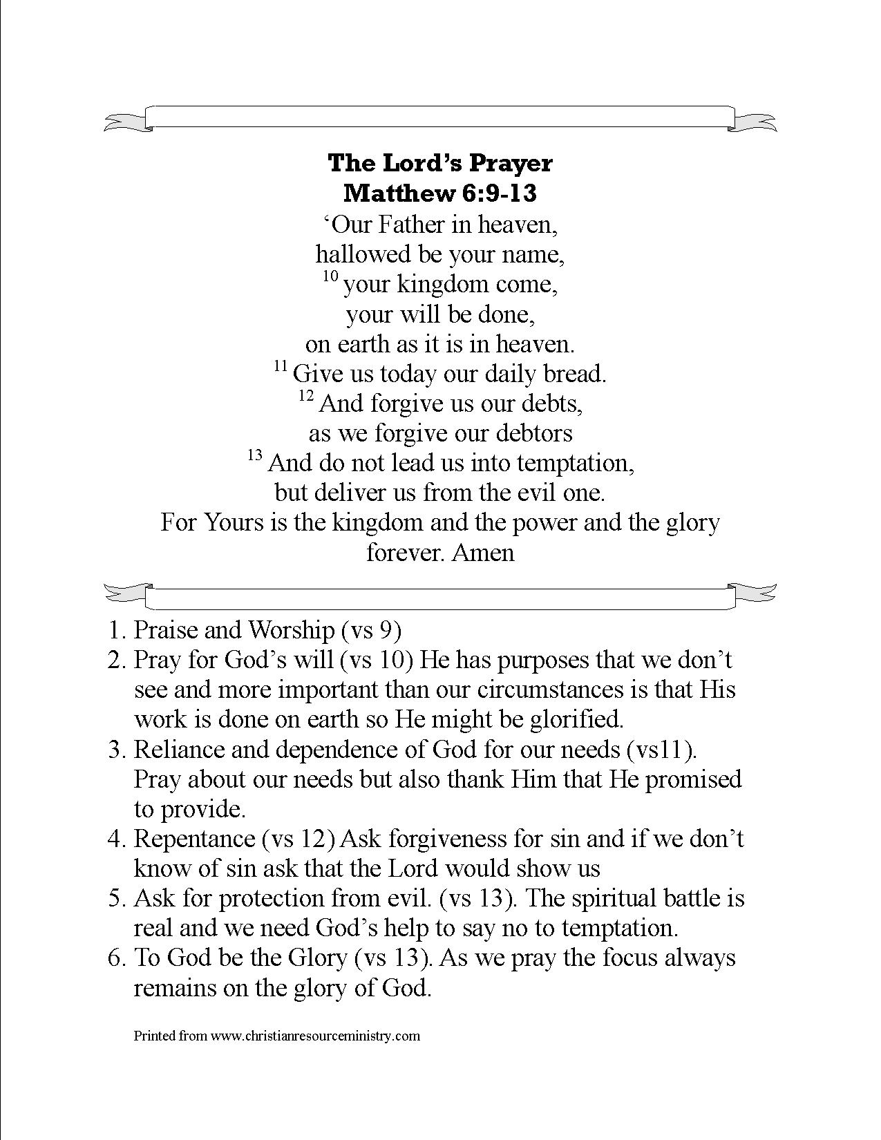 More Printables On The Lord S Prayer
