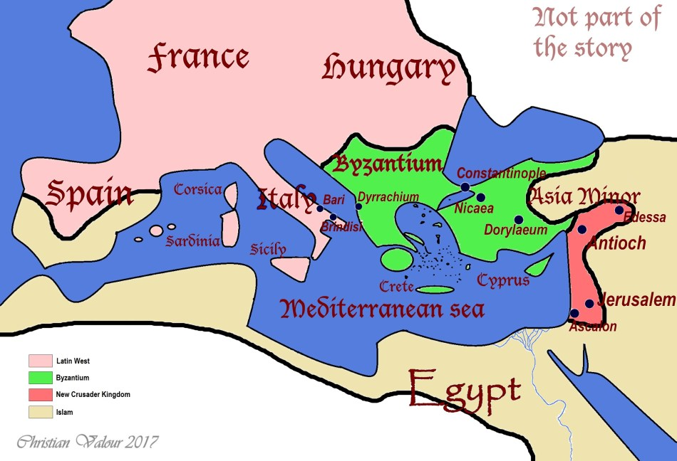 Extremely rough depiction of the general layout of the mediterranean, following the first Crusade.