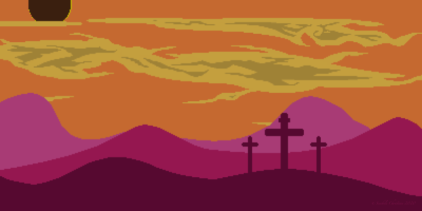 A pixel art, low contrast landscape image representing the solar eclipse at the time of Christ's death on the cross