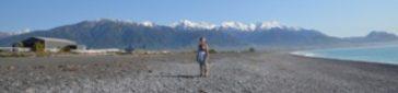 Christie Adams on Kaikoura Beach