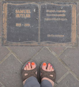 Christie Adams feet on quote plaque at Christchurch