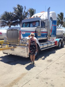Christie Adams stood next to an Australian truck