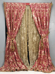 A PAIR OF RED AND GOLD SILK DAMASK CURTAINS 20TH CENTURY Christies