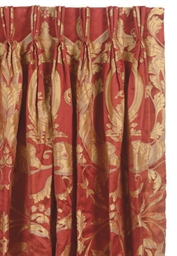 Four Sets Of Red And Gold Silk Damask Curtains 20th