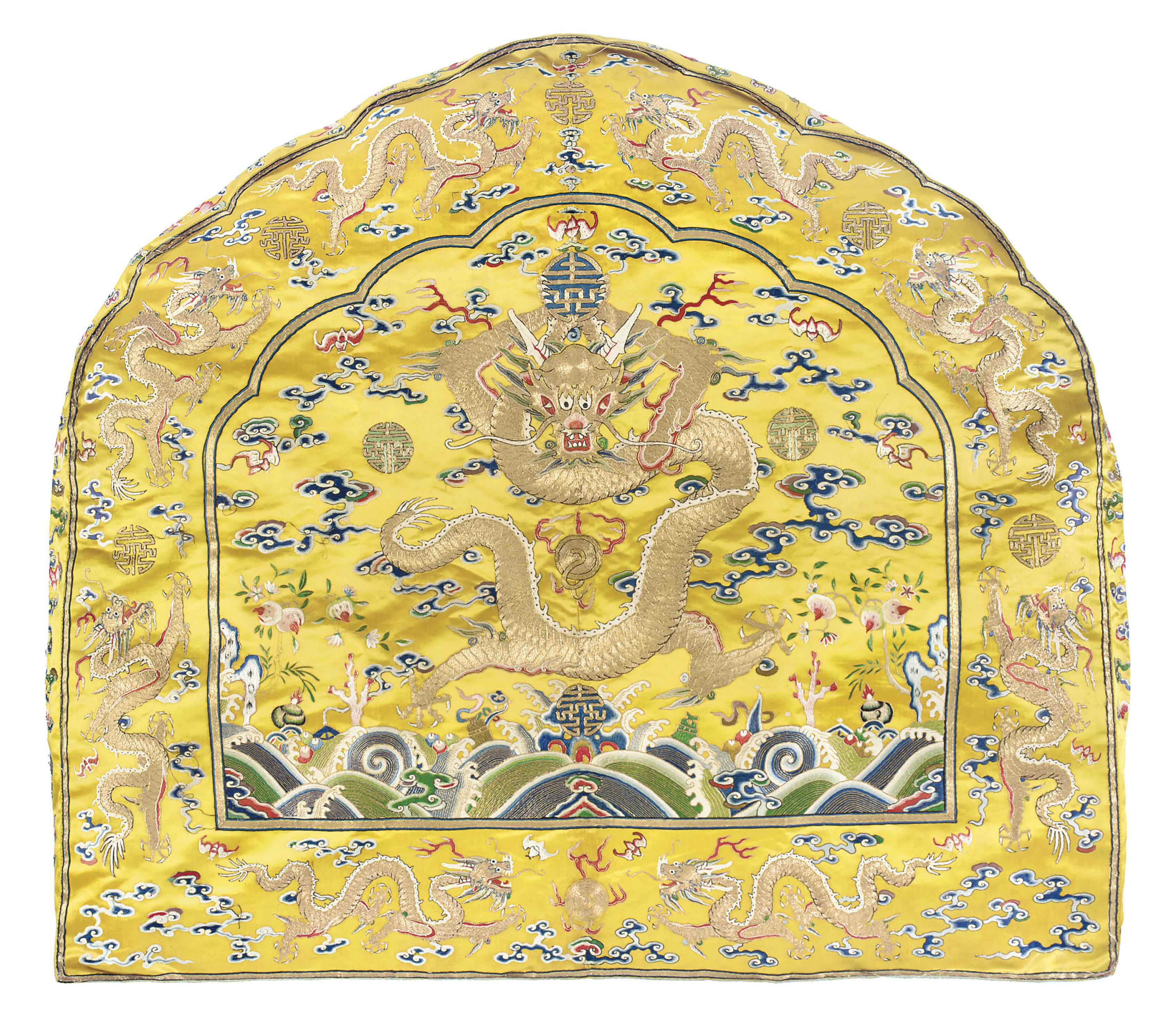 A Fine Imperial Yellow Throne Back Cushion Cover Qing