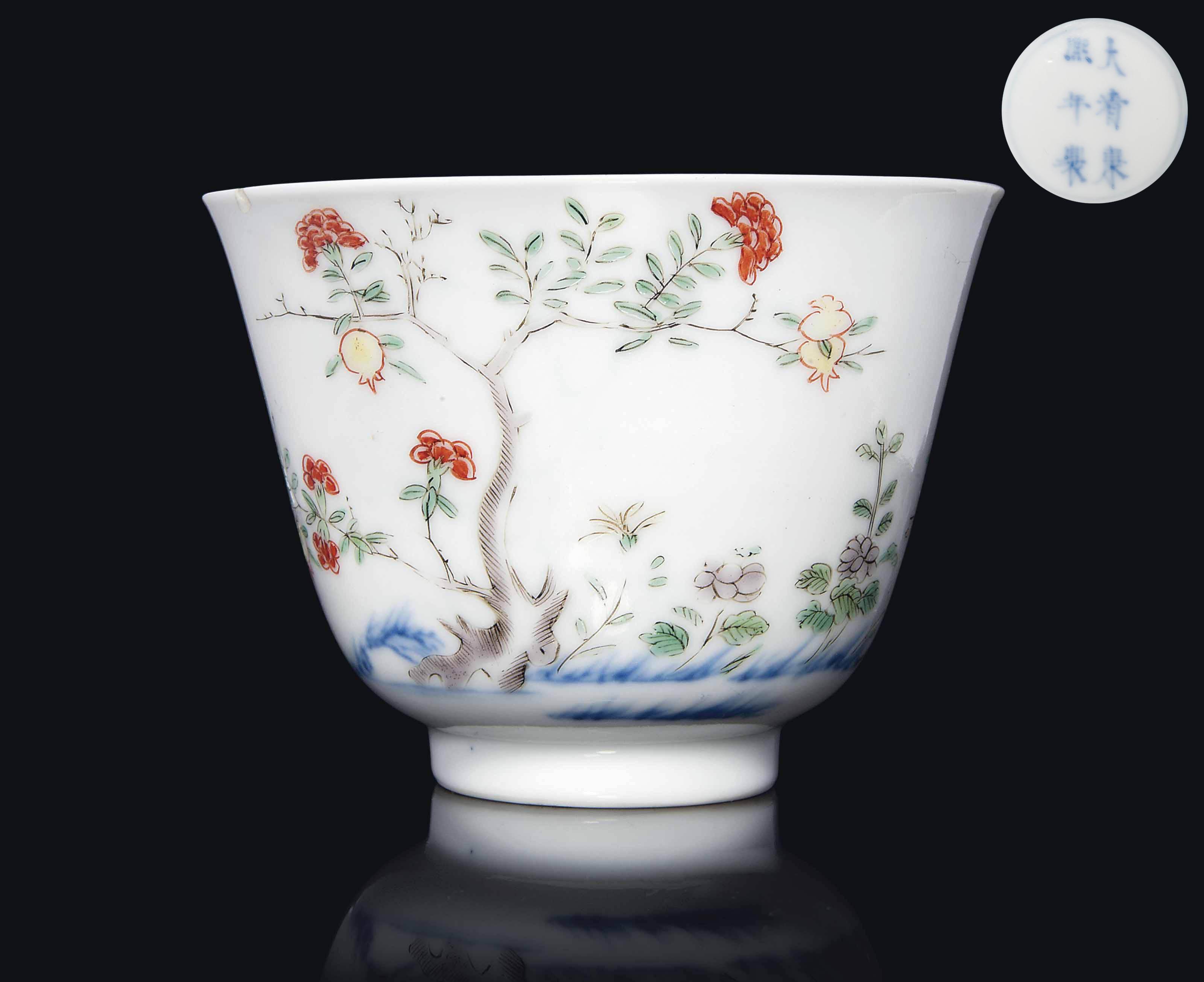 A Famille Verte Month Cup Kangxi Underglaze Blue Six