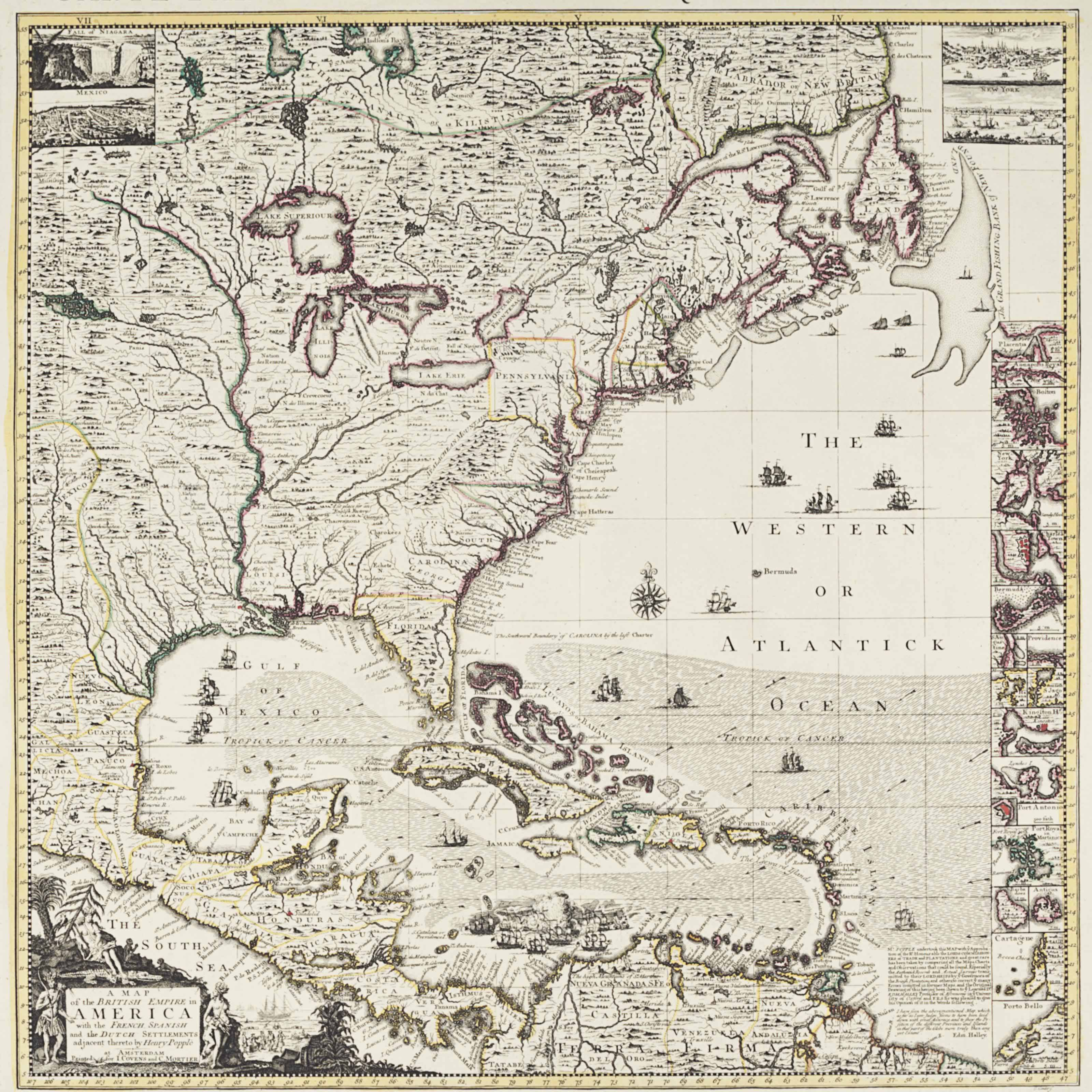 Popple Henry D 1743 A Map Of The British Empire In America With The French Spanish And The Dutch Settlements Adjacent Thereto Amsterdam Covens And Mortier Ca 1755 Christie S