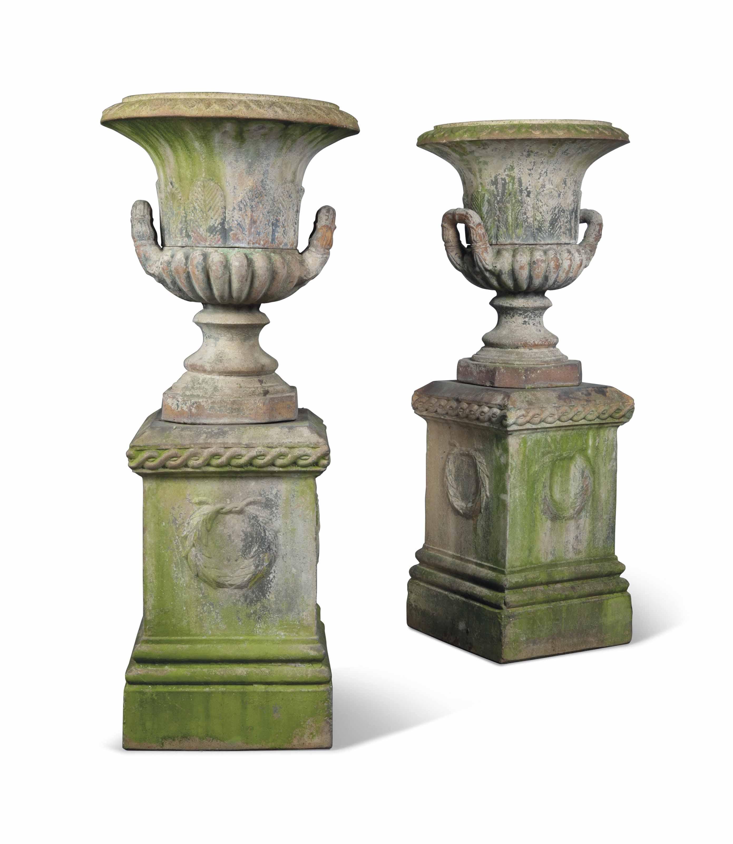 A Pair Of Victorian Terracotta Campana Shaped Garden Urns