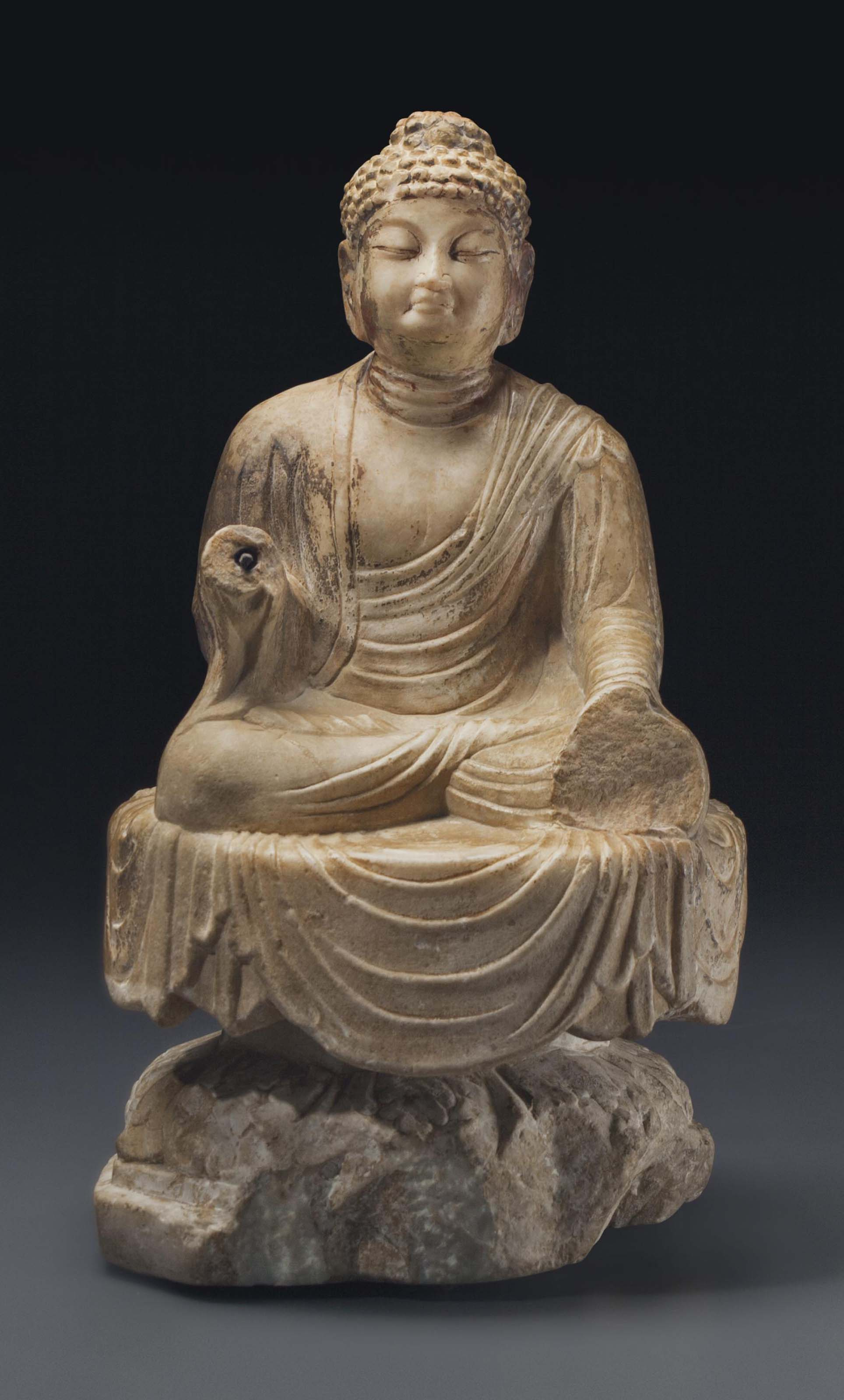 A White Marble Figure Of Buddha China Tang Dynasty Ad