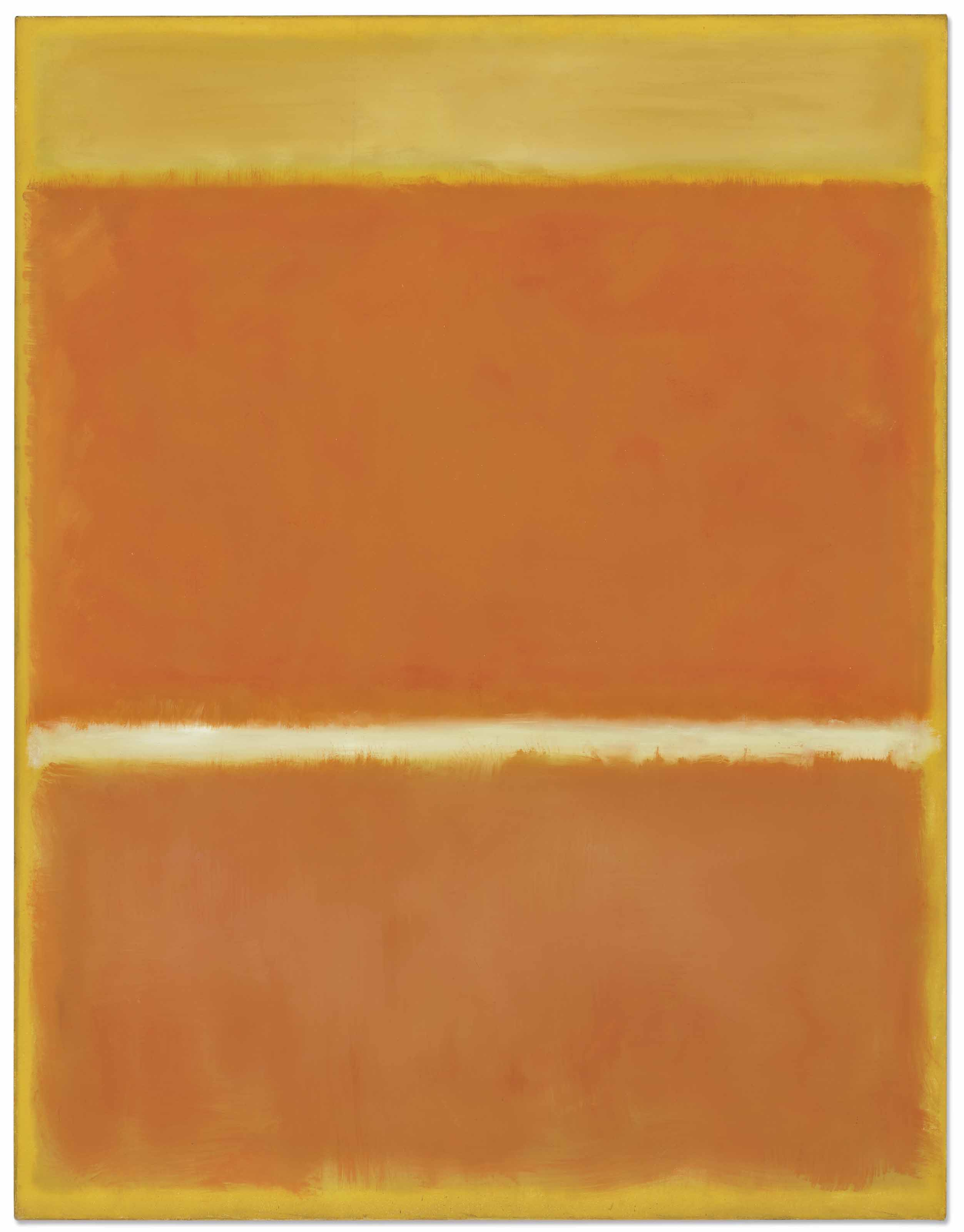 Mark Rothko (1903-1970), Saffron, painted in 1957. 69½ x 53¾  in (175.6 x 136.5  cm). Sold for $32,375,000 in the Post-War & Contemporary Art Evening Sale on 15 November 2017  at Christie's in New York