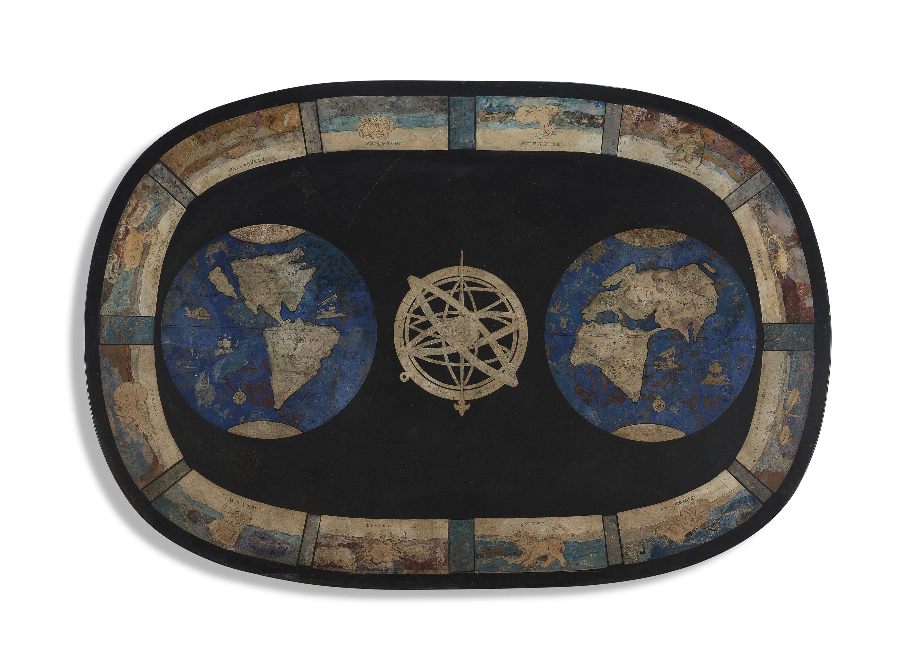 plateau de table ovale de style baroque