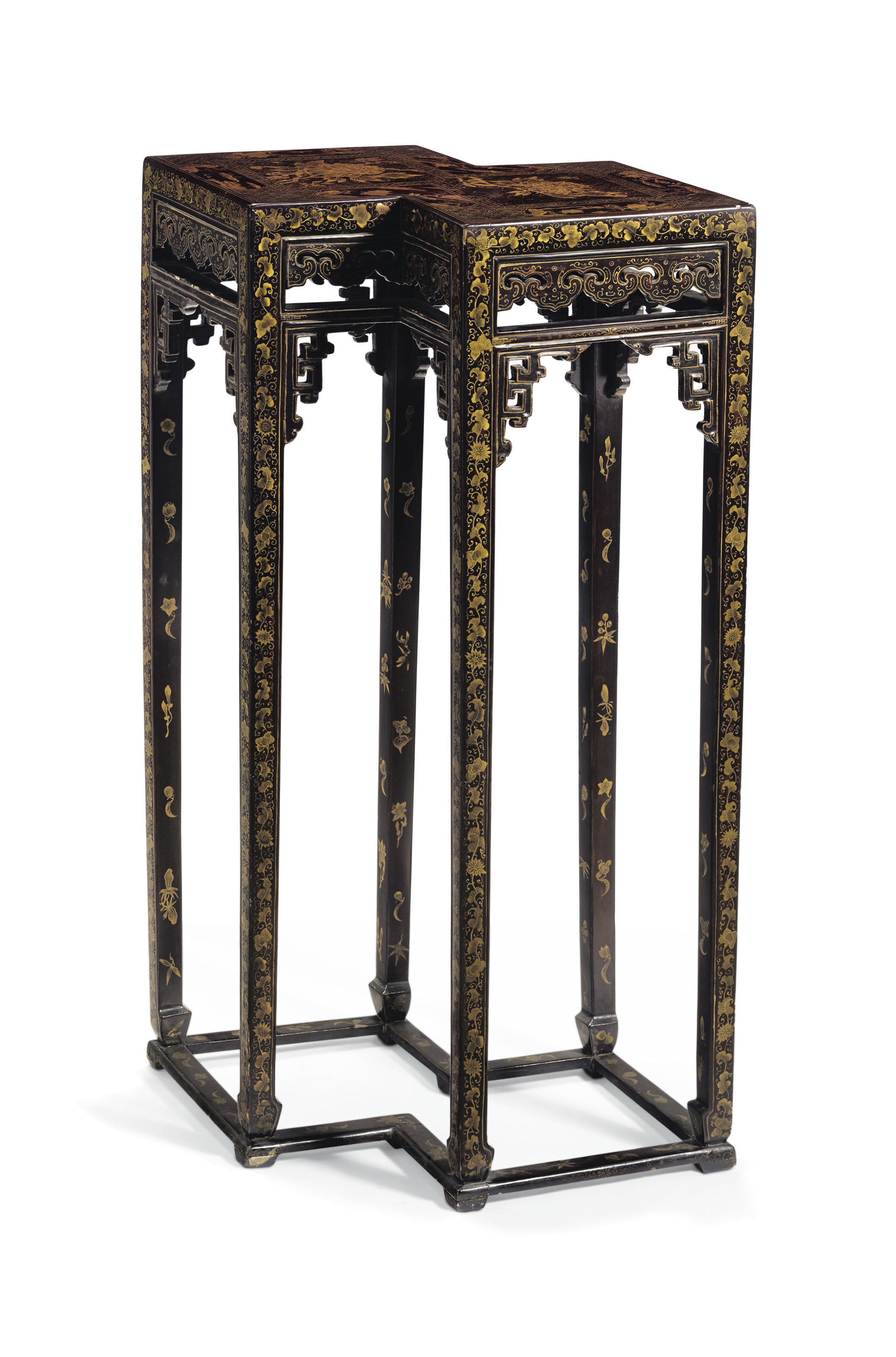 A Gilt Decorated Black Lacquer Double Lozenge Form Stand